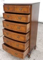 Tall Walnut Shaped Front Chest of Drawers - SOLD